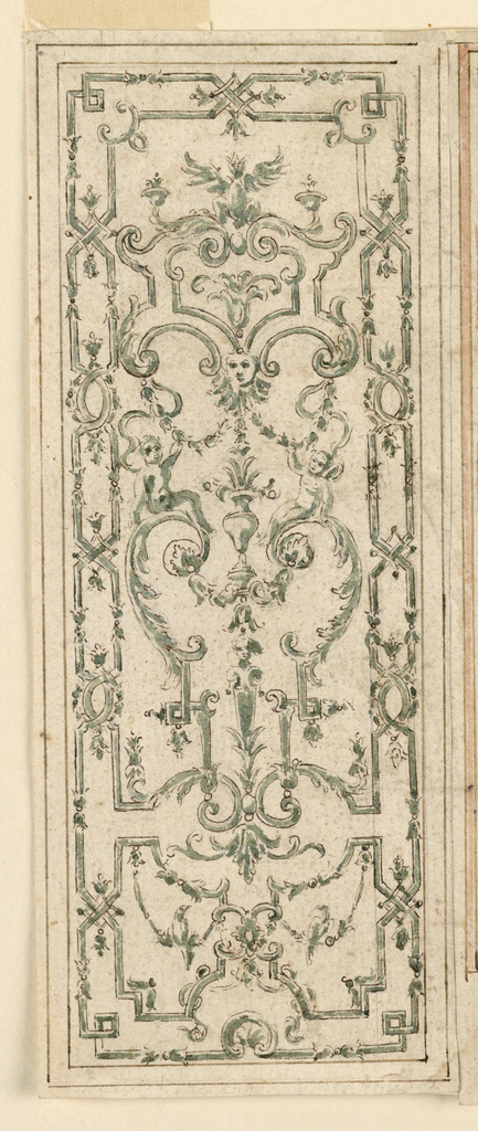 Design for vertical panel with strapwork, putti and swags.