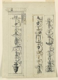 Three vertical candelabrum designs, each bound within a partially detailed frame.