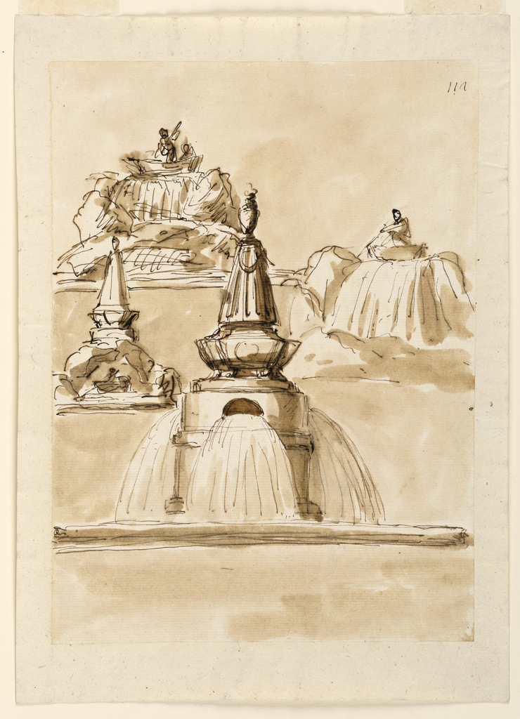 Two views of a boat with figures at the top of a cascade. Below, a man pushes his boat under a rock bridge upon which is a obelisk. In the foreground, water pours from holes in the upper section of an ovoid pedestal into a basin.