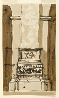 Drawing, Pedestal and base of a pillar in a church