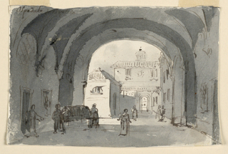 Horizontal rectangle. View through vaults to background with buildings. Figures under vaulted archway, two men at left carrying stretcher.