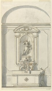 Drawing, Altar with Tabernacle and Two Priests in Conversation