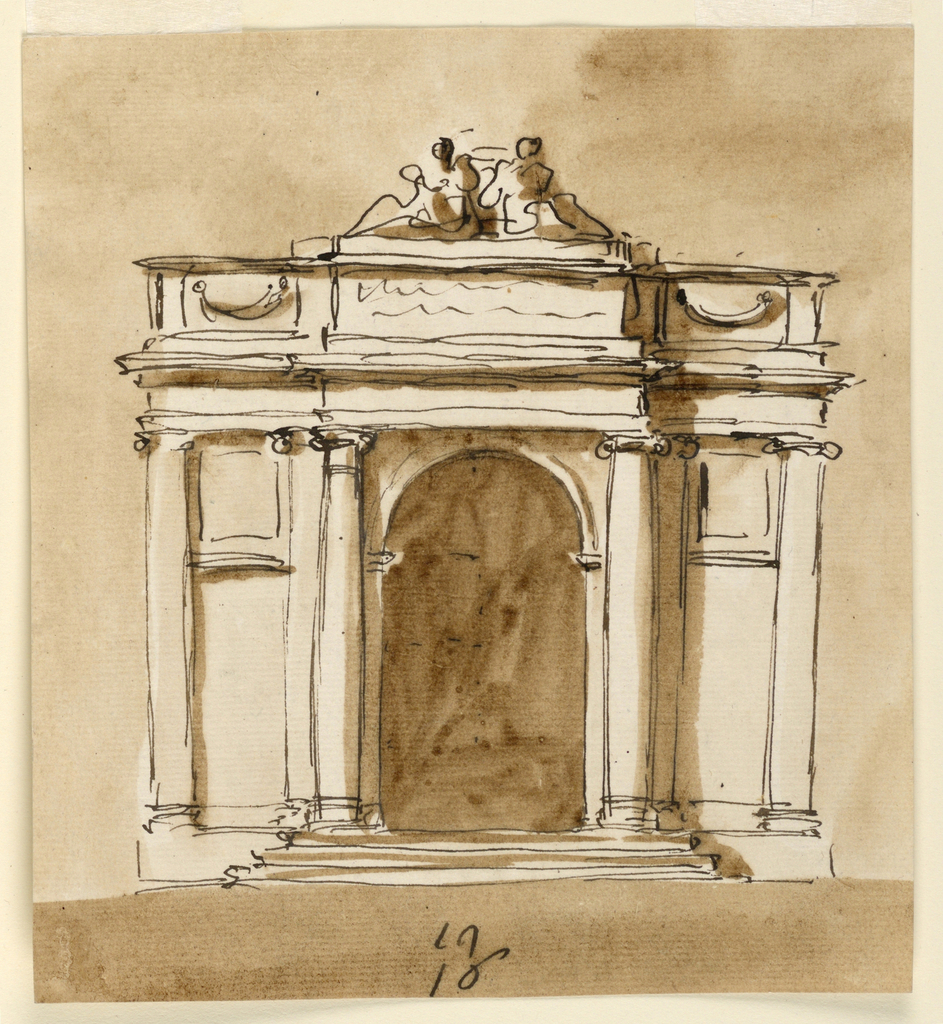 Drawing, Elevation of a pavilion