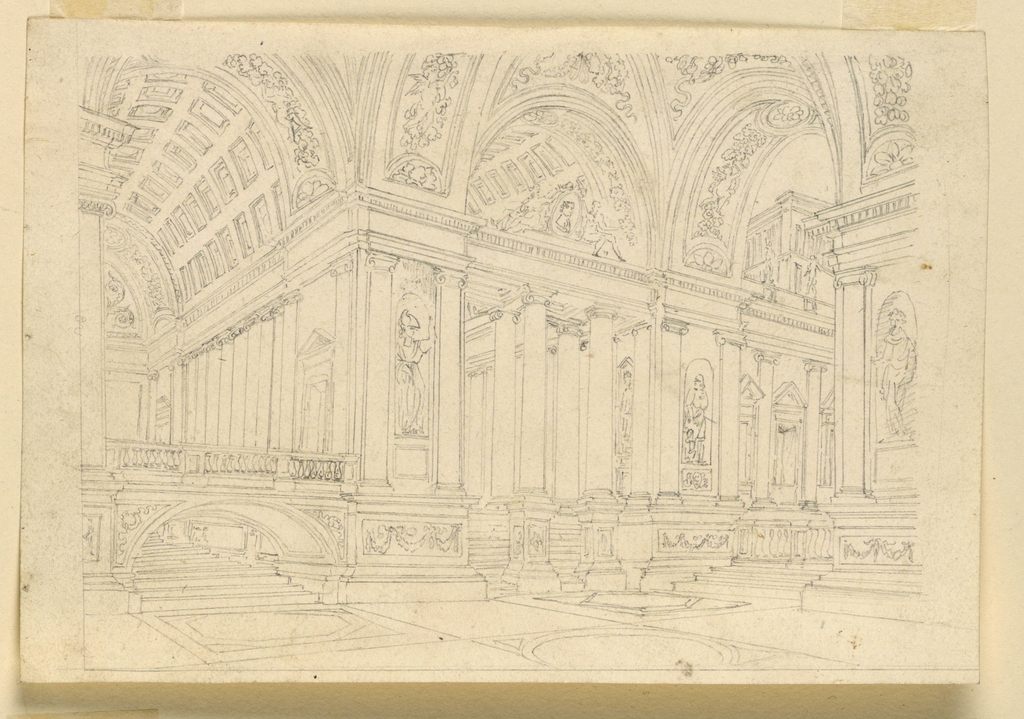 Horizontal rectangle. Interior of large palace hall richly decorated with sculptures, ornamented coffered ceiling.