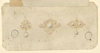 Three pendants, each with a ring above. At left, three pearls in rinceaux, with a hanging one. At center, a large diamond or pearl is framed by rinceaux, with small pearls at the top. At right, two entwined rinceaux, each having a pearl in the center, another hanging.