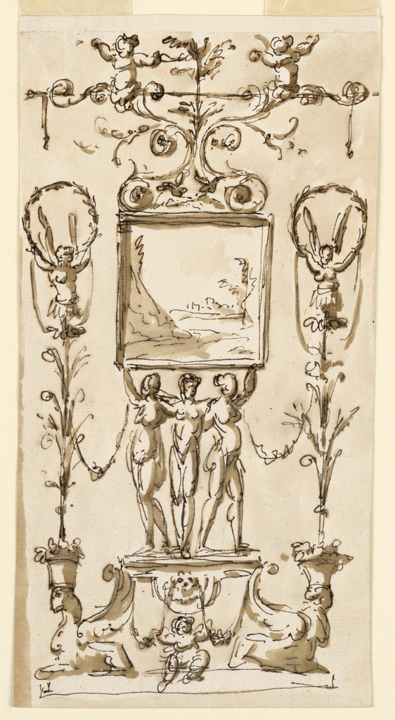 Vertical rectangle. Below is a pedestal with crouching sphinxes at its corners. They support with their heads flower pots from which candelabra rise, with winged half-figures on top supporting with their raised hands a garland and festoons. Three women, embracing each other, stand upon the pedestal. The two lateral ones support with their arms the squrae frame of a landscape. Above it is a floral candelabrum with two half figures. Below, at the front of the pedestal, sits a putto, his hands resting upon two festoons.