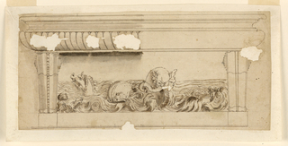 A panel between two corbels with sea creatures and waves.