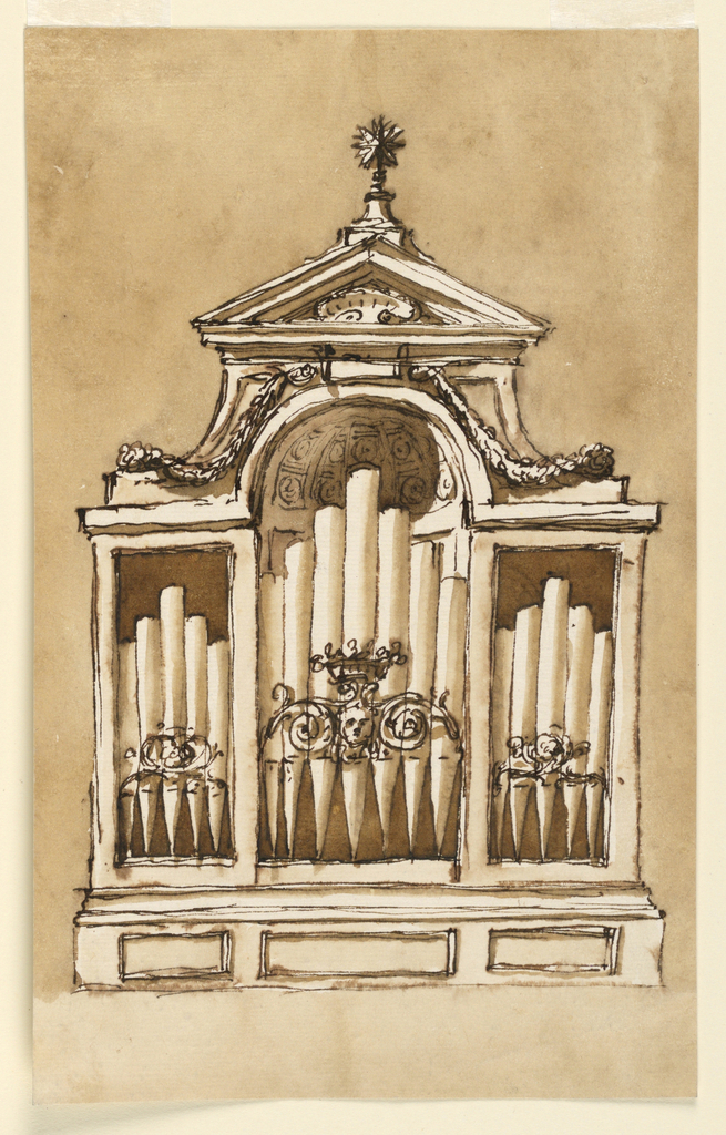 Vertical rectangle. Below is a socle with three panels. The lateral compartments are framed rectangularly; the central, higher one has above pieces of the wall and the conch of a niche. Beside the conch are parts of the support of the triangular pediment, with festoons hanging from the keystone upon the lower ends. In the pediment is a shell, on top a star. In front of the pipes, in the center, are scrolls beside a mask and a flower basket, laterally crossed branches. Usual background.