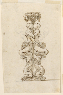 Base has two dolphins surrounding a shell. Above, on either side two mermaids seated back to back with arms linked, heads tilted back with mouths open looking at bunches of grapes hanging from the socket. Sketched is an alternate for the upper portion of their bodies.
