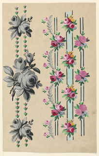 Striped design. At left is a vertical row of small flowers of which two repeats are shown, alternating with bunches of roses of which one repeat is shown. At right is a light blue black edged strip, flanked by two narrow ones, upon which bunches of flowers are staggered in alternate horizontal rows. The bunches upon the lateral strips are to be connected at the outsides by leaf bough festoons, beside which small rose boughs are shown.