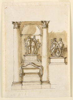 Drawing, Two monuments