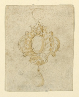Design for a pendant. An escutcheon containing an oval diamond at center; at the sides, two palm branches. Below, a pear-like pearl is hanging. A ring above.