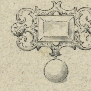 A rectangular diamond is framed by an escutcheon formed by two volutes of leaves. In the center, on the sides, two brilliants. Below hangs a pearl.
