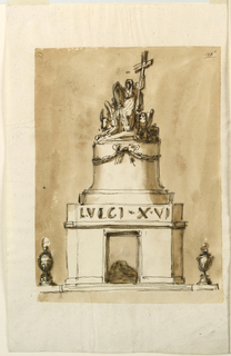 A variation of 1938-88-1301, with less details and ornamentation. The flames burn in urns. The inscription is in the band above the entablature. The figure with the scross is a variation of 1938-88-1300. Beside her are the symbols of the Evangelists.