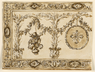 Horizontal rectangle. The left side is shown. Sheaves, rising from acanthus calices, are intended to form there arcades, in which hang, above, nine festoons, and in the center, downwards, a circular medallion with a cross. Laterally a trophy of alter objects. Decorated border.