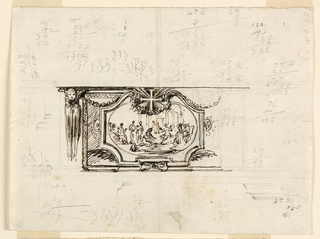 Shown as far as necessary. An ovoidal representation of Christ washing the feet of St. Peter in an escutcheon. Sections of molding of a base and an entablature print. Accounts in pencil. Scribbling, ink. Verso: horizontally: East wing is subdivided in five panels. At right two architectural sketches. Accounts, ink, pencil.