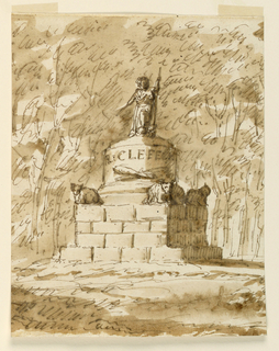 Drawing, Design for a monument to R. Clefeort
