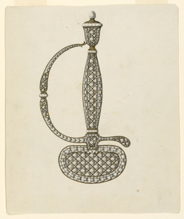 Design for a jeweled hilt and guard of a dress sword. Grip and guard of hilt are decorated with a pattern of lozenge shapes set with small diamonds. Similar pattern decorates knuckle-guard as well. At the top of the hilt is an urn-shaped pommel with button.