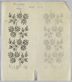"""Vertical rectangle. Designs of abstract floral patterns for panels and borders. Each drawing stamped at top: """"Sessin original a broderie."""" Designs numbered 152 (B)"""