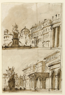 Horizontal rectangle. Two views of squares with richly decorated fountain on the left side, slight difference in the architecture between both.