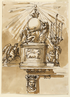 Top: a) upon a pedestal, showing the Easter lamb in its front panel, two angels, one kneeling, the other one standing. They carry the globe, on top of which two cherubim support the chalice, above which the Host appears, being the center of a glory of rays. Beside the pedestal are suggested: at left, an angel kneeling upon a volute, worshipping; at right: two angels holding a candlestick with five candles. Bottom: b) The left corner of the top and top of the left leg are shown. A female mask in a drapery carries an Ionic capital. It supports an entablature. Colored background.