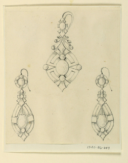 Drawing, Designs for three earrings, 1860–70