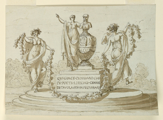 Oval platform with three steps. Two dancing girls with a vine garland flank the monument composed of an urn on an inscribed plinth. Atop the urn is a bearded bust, and beside a robed woman. Scene set in landscape.