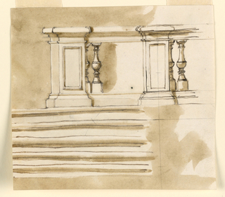 Horizontal rectangle. Five stairs lead to a landing bordered in front, at right, by a balustrade. The mason's work of the first section, the first embedded baluster and the first free one, and the second sections are executed. Partly colored background.