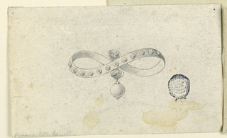 A stiff ribbon with inlaid diamonds is crossed by its rolling ends to form a knot. Below hangs a diamond.