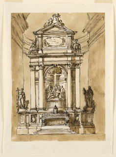 Vertical rectangle; in the center of the retable is a niche with a group of the Deposition of Christ, laterally framed by a projecting column and a strip with two panels and a pilaster outside; above is a triangular pediment supported by a pedestal with an inscription in a wreath at the front and two angels sitting laterally upon its base. In front of the socle stands the mensa. In the panels below the pilasters are panels with a prelat's escutcheons. The socle is elongated and two groups of a saint with angles stand upon the pedestals at the outsides.