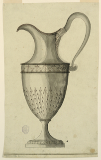 Helmet shaped ewer on a square base. Leaves rise vertically at the bottom.