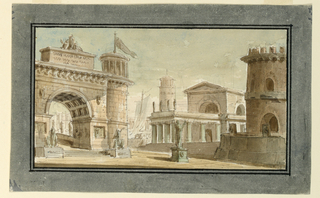 Horizontal rectangle. Group of buildings, triumphal arch, tower, monumental sculpture, and other buildings near port with boats in background.