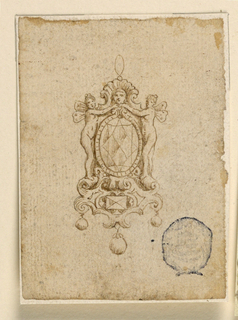 Below is an escutcheon of scrollwork, with an oblong diamond in the center and three pending round diamonds. Above it, the oval frame of a big diamond. Psyche with butterfly wings. On the top, a shell fan with a head in front, sbove the ring.