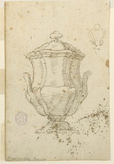 Vase with a cover and two handles. Above, at right, a slight sketch of a vase with cover. Below, right, part of two sketches. Above, a slight sketch of a smaller bowl. Below, a larger bowl.