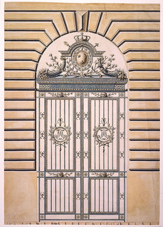 The gate set in a rusticated wall.  The gate itself consists of two wings with two vertically oriented panels making up each wing.  Centered in the upper panels are circular medallions with the royal chiffre (initials), surrounded by two laurel branches.  Above entablature is the winged royal coat of arms between two cornucopias and flanked below by laurel twigs.  