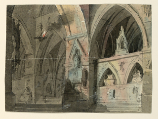 Horizontal rectangle. Interior of Gothic church, tombs fixed to wall, lantern hanging at left.