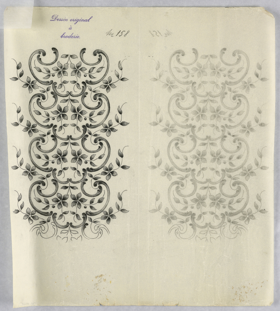 """Vertical rectangle. Designs of abstract floral patterns for panels and borders. Each drawing stamped at top: """"Sessin original a broderie."""" Designs numbered 158 (E)"""