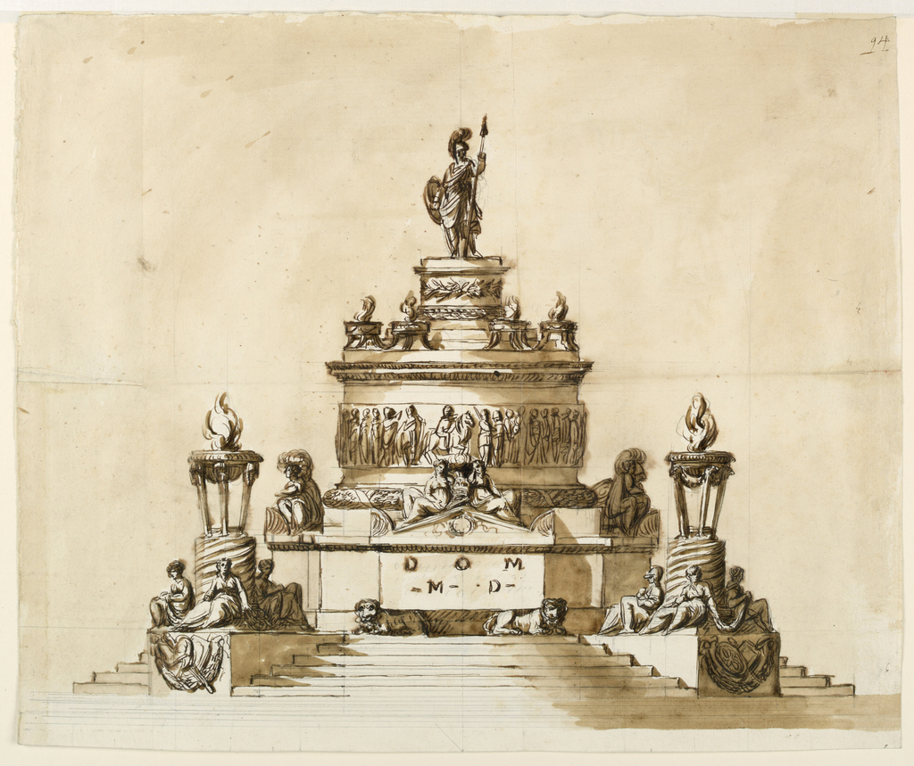 Large tiered monument with several figures; topped with a robed warrior.