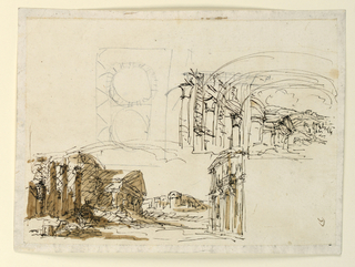 Horizontal rectangle. Two different sketches of classical buildings in landscape and rough sketch of ground plan.