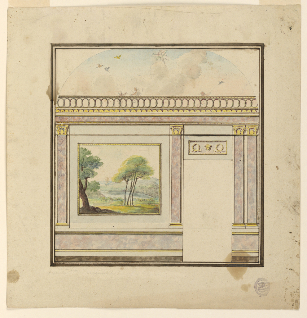 Elevation of a room. Dado and pilasters in marble. Capitals and molding details picked out in gold. A Wall painted with a square panel showing a landscape. Guilloche decoration at entablature. Above, a hemisphere painted with figures and birds in the sky.