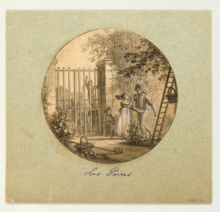 Design for a painted porcelain plate, rondel. A garden scene depicting pear trees at right with stone wall and gate at left middleground.  A figure of a gardener talks with a young woman while pointing to two children trying to reach the pears on tree limbs hanging outside the gate.  He appears to be telling her to stop them from stealing his pears.  A tall ladder with basket at right foreground leans against a tree.  A rake and pear-filled basket at left foreground lie on a dirt path.