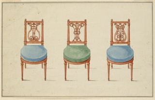 Left: Side chair, upholstered in blue. Elongated back splat with lyre-form configuration as back rest.  Fluted rails and legs.  Center: Same description as above upholstered in green.  Right: Same description as above, upholstered in blue.