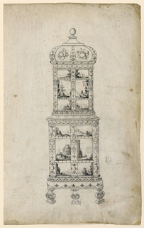 Design for a stove made of tiles with painted transfer designs on them—three rows in both top and bottom section of two tiles each—romantic scenes with castles, etc., borders of geometric designs and above two large bunches of fruit.