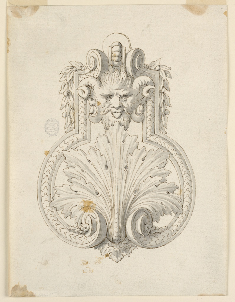 Design for a doorknocker with a horned mask and large central acanthus leaves.