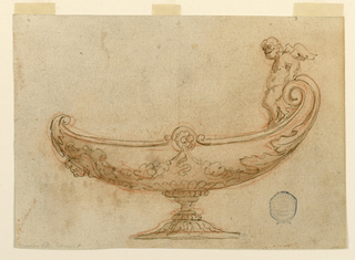 Design for a bowl in the shape of a nef. At right, an angel perches on a scroll. An antefix mask at left.