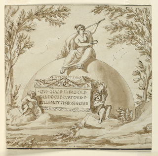 Half sphere upon which sits a woman with telescope. A bot leaning on a lyre and a boy with a flaming cornucopia flank a sarcophagus. Inscription at front.