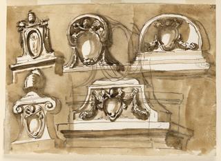 Drawing, Five designs for an overdoor