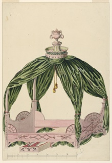 A canopy tent bed surmounted by an urn. Underneath, a drawer for chamber pots, exposed. Bed decorated with batwing fan and bow, arrow and quiver motifs. Scale below.