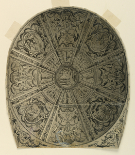 Circular centre showing Paris distributing the prize among the goddess.  Around this centre main part of design describes oval divided into sections decorated with ornaments and representations of scenes fromt he life of Apollo.