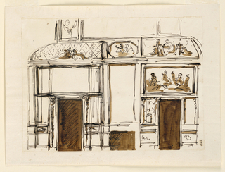 Drawing, Elevations of a wall, ceiling, mantelpiece